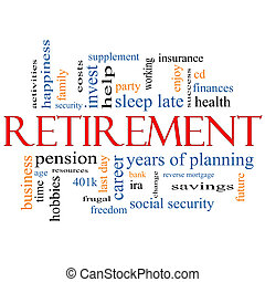 pensioen, concept, woord, wolk