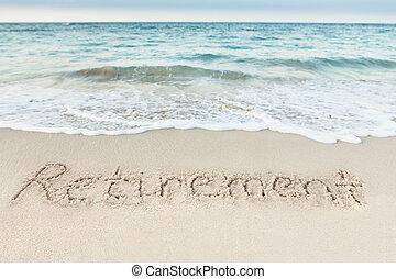 pensioen, geschreven, op, zand, door, zee