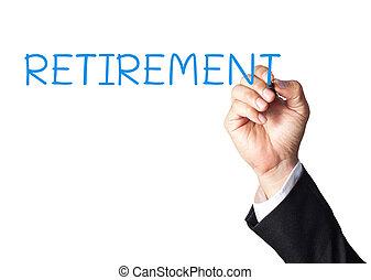 pensioen, hand, plank, zakenman, witte , schrijvende