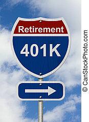 pensioen, meldingsbord, weg, sparen, jouw, straat