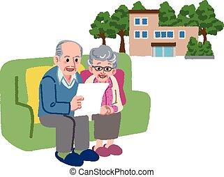 pensioen, paar, verhuizen, hun, planning, thuis, senior