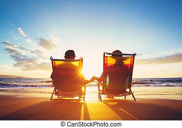 pensioen, schouwend, concept, vakantie, coupe, ondergaande...