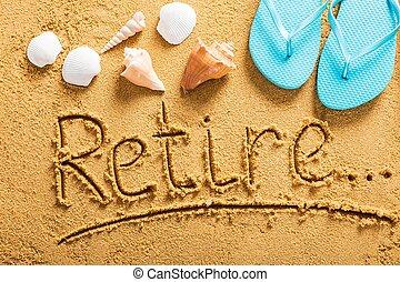 pensioen, strand, plan