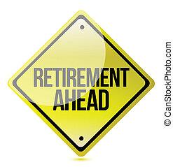 pensioen, vooruit, -, gele, straat, voorzichtigheid