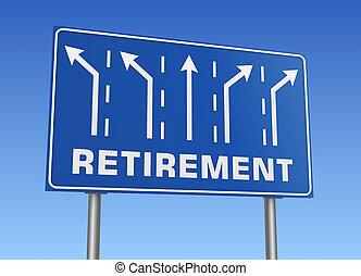 pensioen, wegaanduiding