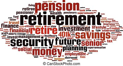 pensioen, woord, wolk