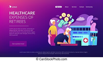 pensioentrekkeren, concept, page., tussenverdieping, kosten, gezondheidszorg