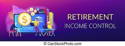pensioentrekkeren, financieel, geletterdheid, concept, header., spandoek