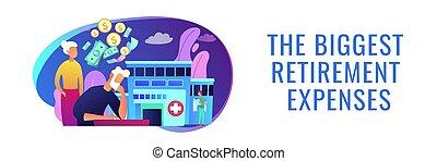 pensioentrekkeren, kosten, concept, header., spandoek, gezondheidszorg