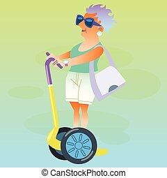 pensionär, elektrischer tretroller, urlaub, weibliche , geht