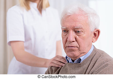 pensionären, desperat, trist