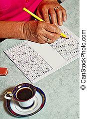 pensionären, med, sudoku