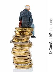 pensionären, sittande, på, a, stapla av pengar