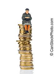 pensionären, sittande, på, pengar, stack