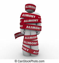 pension alimentaire, spousal, épouse, attrapé, piégé, s, bande, ex, emballé, rouges, homme