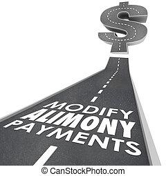 pension alimentaire, spousal, financier, modifier, paiements, obligation, route, suppor