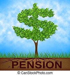 pension, arbre, indique, finition, travail, et, banque