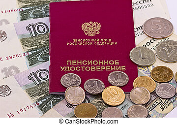 Pension certificate on money background