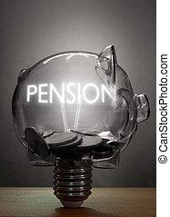 pension, concept, économies retraite