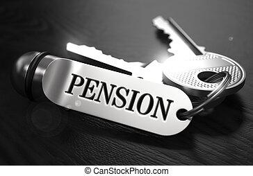 Pension Concept. Keys with Keyring.