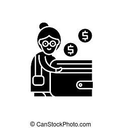Pension contribution black icon, vector sign on isolated background. Pension contribution concept symbol, illustration