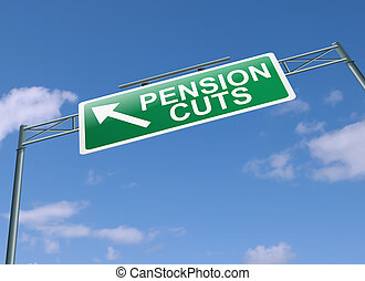 Pension cuts concept.