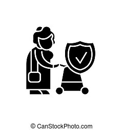 Pension fund black icon, vector sign on isolated background. Pension fund concept symbol, illustration