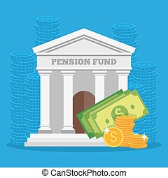 Pension fund concept vector illustration in flat style design. Finance investment and saving background