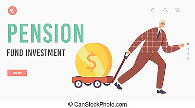 Pension Fund Investment Landing Page Template. Business Growth, Wealth and Prosperity. Businessman Character Pull Trolley with Huge Golden Coin. Investor, Rich Millionaire. Cartoon Vector Illustration