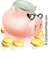 Pension piggy bank with coins