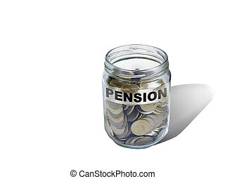 pension savings money in jar - pension savings money in jar...