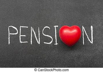 pension word handwritten on chalkboard with heart symbol...