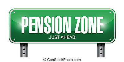 pension zone sign post illustration