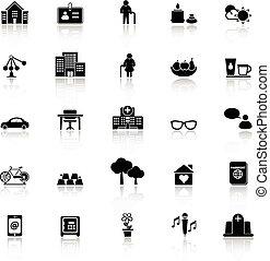 pensionamento, icone, comunità, riflettere, fondo, bianco