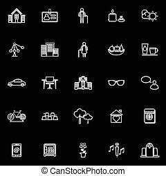 pensionamento, icone, comunità, sfondo nero, linea