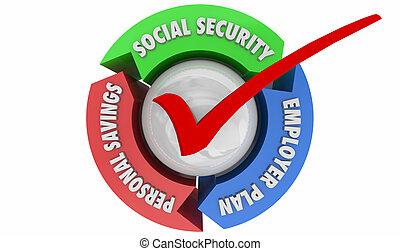 pensionamento, illustrazione, 401k, risparmi, conti, previdenza sociale, 3d
