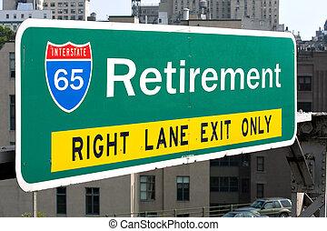 pensionamento, segno strada principale