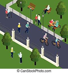 pensionati, isometrico, ozio, illustrazione, attività