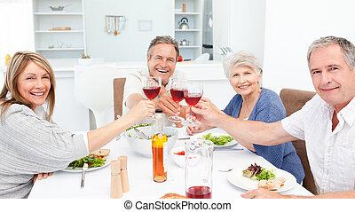 pensionato, amici, tostare, insieme