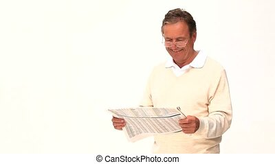 pensionato, lettura uomo, uno, giornale