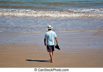 pensionato, uomo, spiaggia