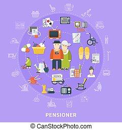 Pensioner Colored Concept