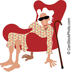 Old lady sitting in armchair without legs. Instead she keep floor with her hands and feet. Picture show how difficult is pensioner life. Vector illustration.