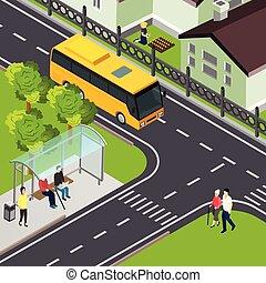 Pensioner Public Transport Isometric Illustration