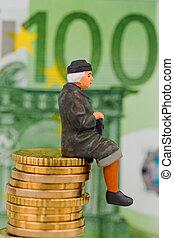 pensioner sitting on cash pile - pensioner sitting on money...