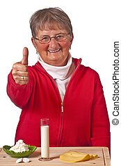 pensioner with dairy products