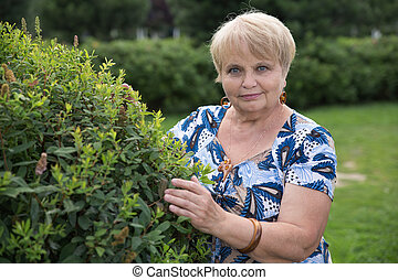 Pensioner woman with green bush in garden