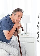 pensionerat, man, med, hans, att gå klibbar