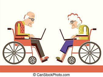 Elderly people in a wheelchairs with laptops. Vector pensioners isolated for design