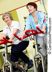 Pensioners in gym